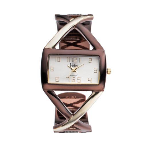 Vivani Women's Two Tone Crisscross Bangle Watch
