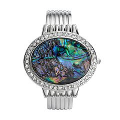 Vivani Silver Tone Simulated Abalone & Simulated Crystal Bangle Watch - K4093A - Women