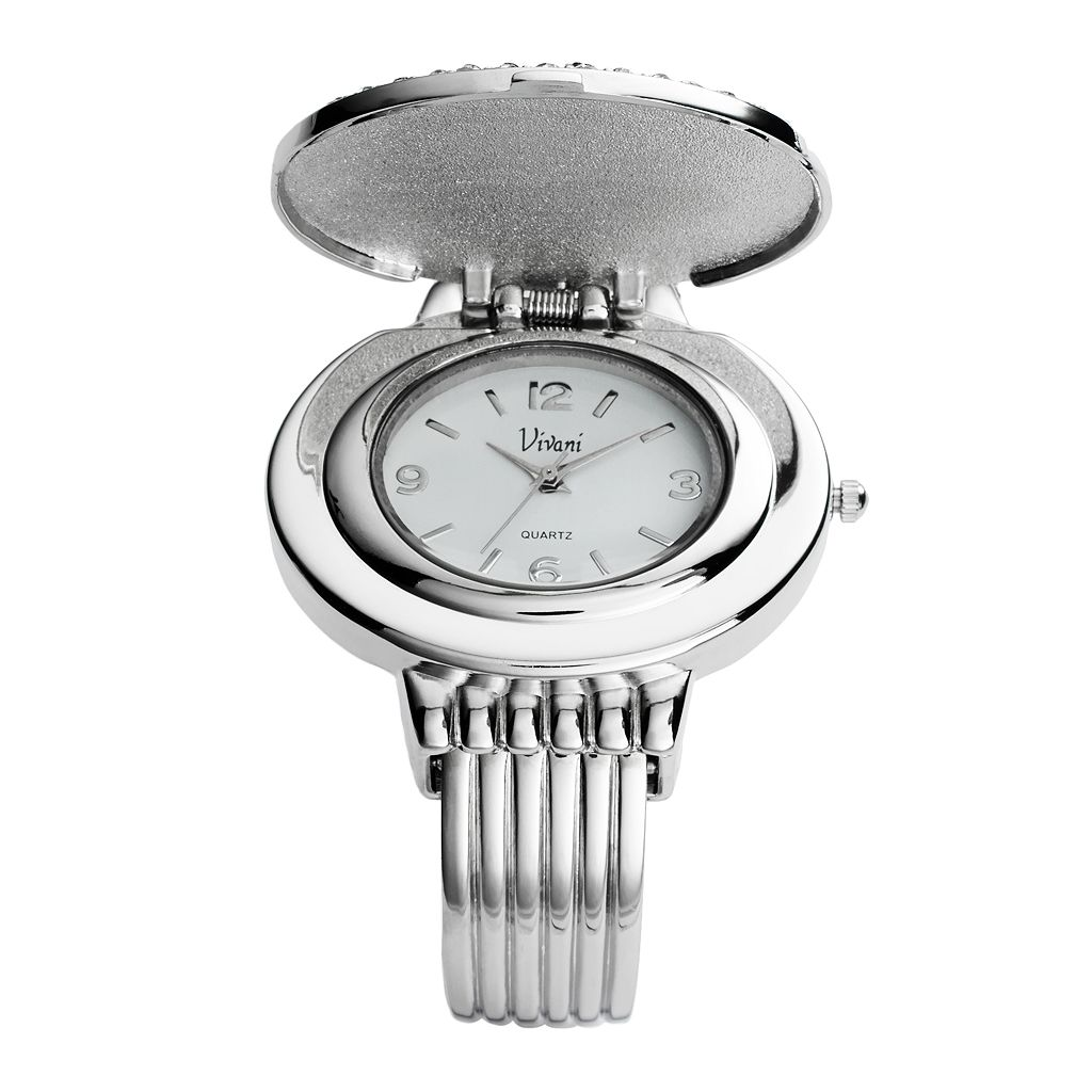 Vivani Silver Tone Simulated Abalone and Simulated Crystal Bangle Watch - K4093A - Women