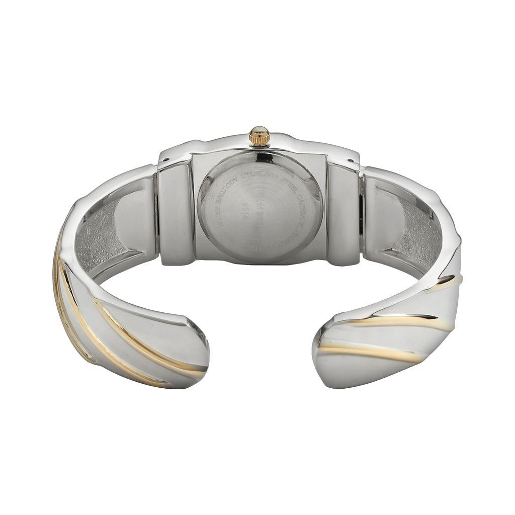 Vivani Women's Two Tone Striped Bangle Watch
