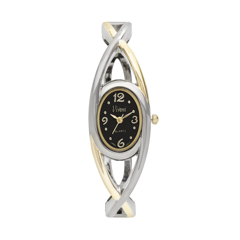 Vivani Women's Two Tone Crisscross Bangle Watch