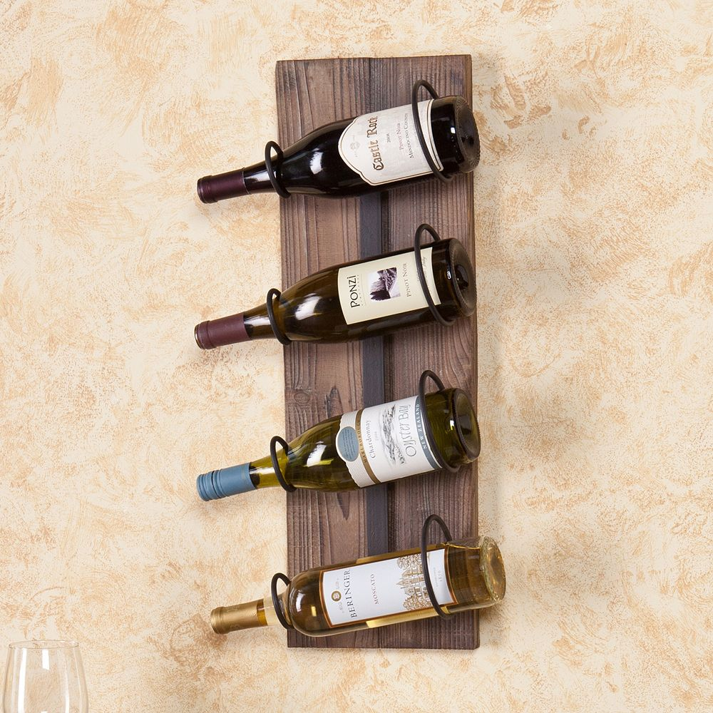 4-Bottle Wall-Mount Wine Rack