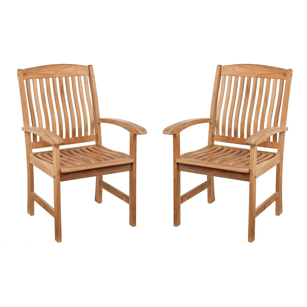 Logan 2-pc. Outdoor Teak Arm Chair Set