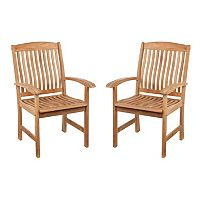 Logan 2 pc Outdoor Teak Arm Chair Set