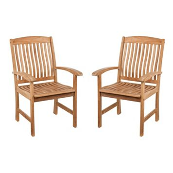 Logan 2-pc. Outdoor Teak Arm Chair Set