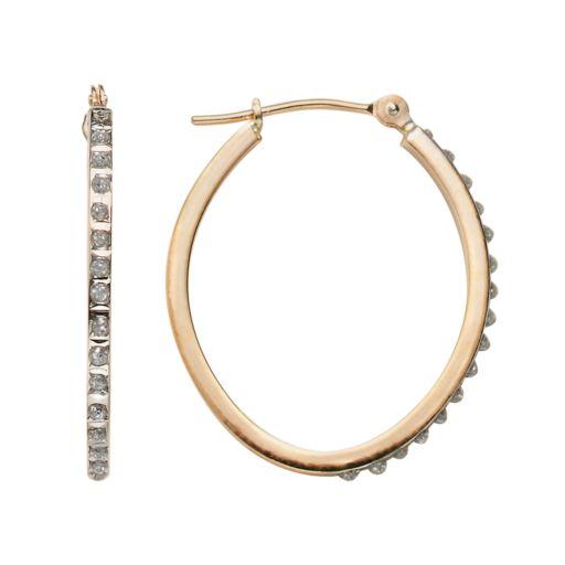 14k Gold Oval Diamond Accent Hoop Earrings