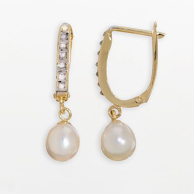 Diamond Fascination 14k Gold Cultured Pearl and Diamond Accent U-Hoop Earrings