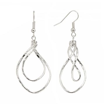 Silver Tone Twist Drop Earrings