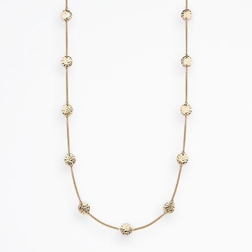 Croft & Barrow® Gold Tone Hammered Disc Link Long Station Necklace