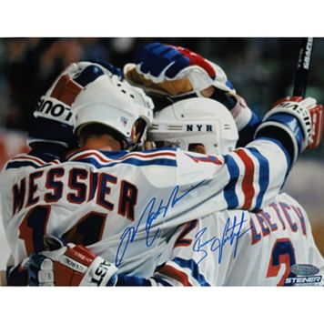 Steiner Sports Brian Leetch and Mark Messier Team Huddle 16'' x 20'' Dual Signed Photo