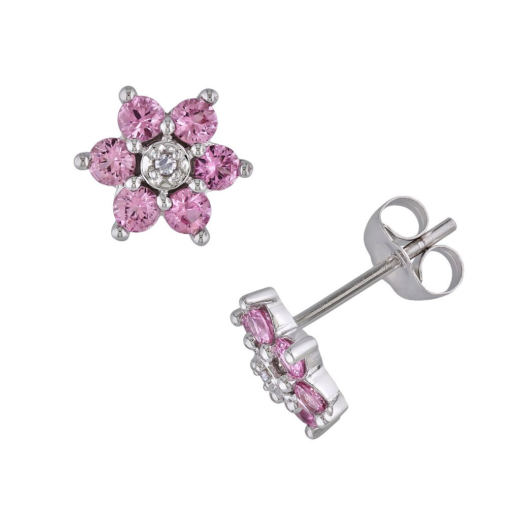 10k White Gold Pink Sapphire & Diamond Accent Floral Stud Earrings
