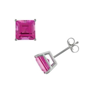 10k White Gold Lab-Created Pink Sapphire Square Stud Earrings