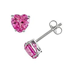 Stella Grace 10k White Gold Lab-Created Pink Sapphire Heart Stud Earrings