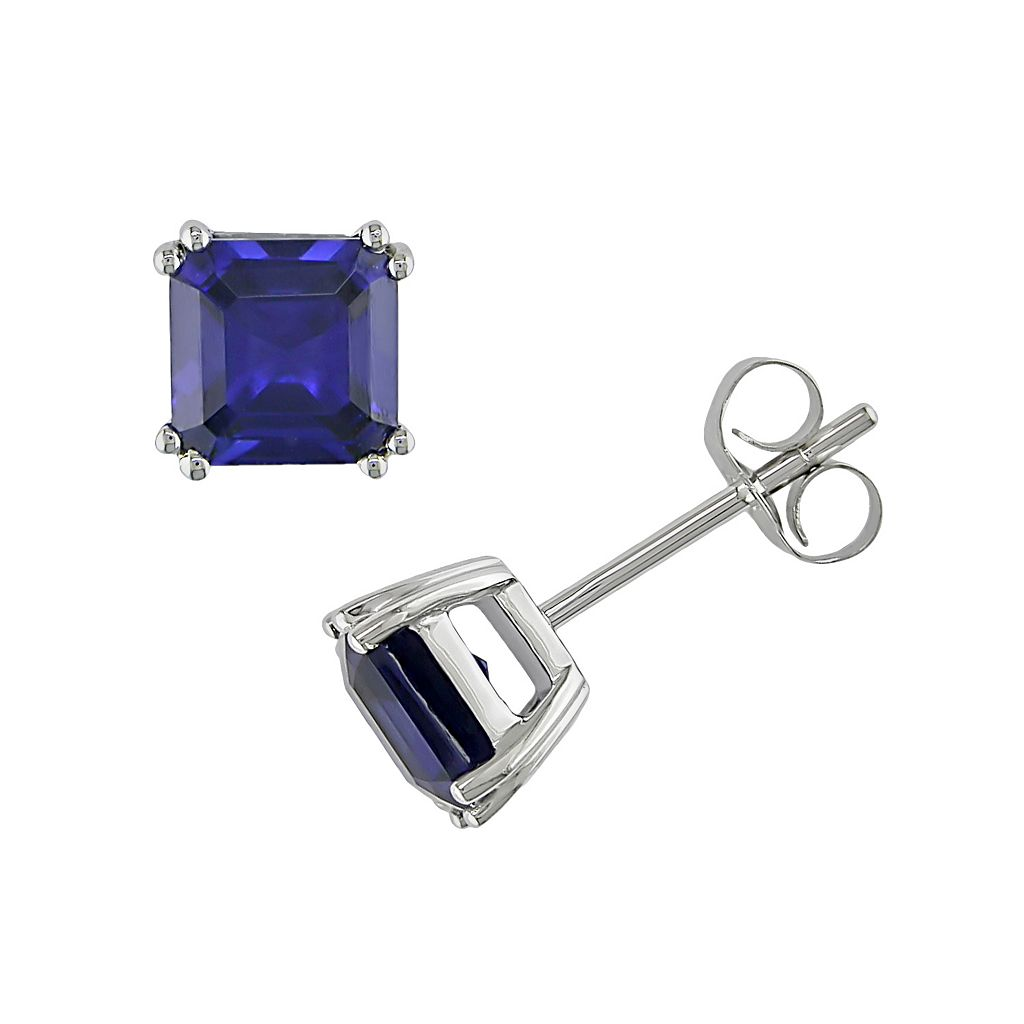 10k White Gold Lab-Created Sapphire Square Stud Earrings