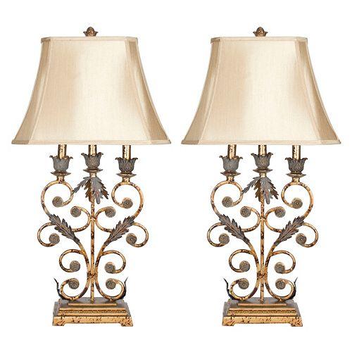 Safavieh Wrought Iron 2-pc. Table Lamp Set