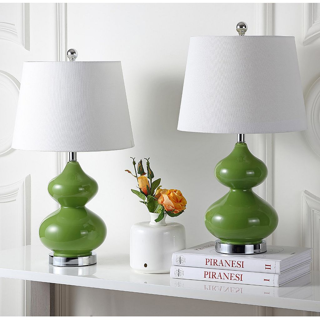 Safavieh Eva Double Gourd 2-pc. Glass Table Lamp Set