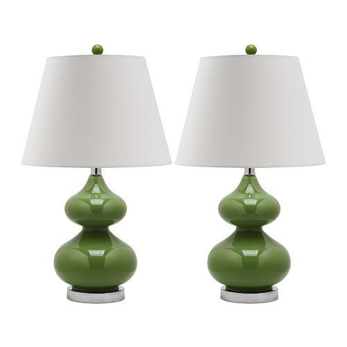 Safavieh Eva Double Gourd 2-pc. Glass Lamp Set