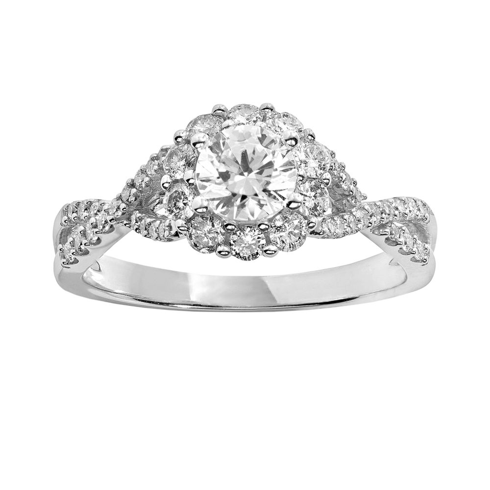 Vera Vera Wang Diamond Engagement Ring in 14k White Gold 1 ct TW
