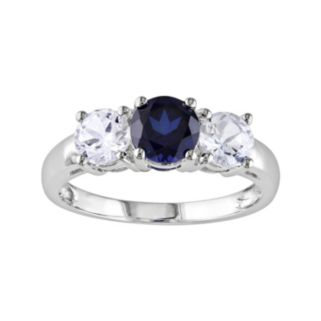 10k White Gold Lab-Created Blue and Lab-Created White Sapphire 3-Stone Ring