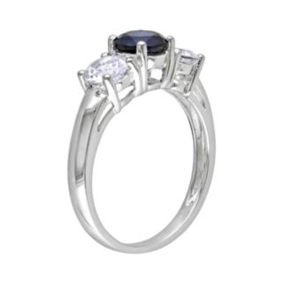 Stella Grace 10k White Gold Lab-Created Blue and Lab-Created White Sapphire 3-Stone Ring