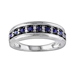 10k White Gold Sapphire & 1/10-ct. T.W. Diamond Ring