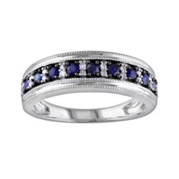 Stella Grace 10k White Gold Sapphire and 1/10-ct. T.W. Diamond Ring