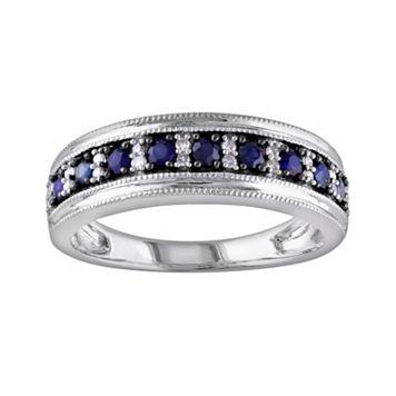 10k White Gold Sapphire & 1/10-ct. T.W. Diamond Ring