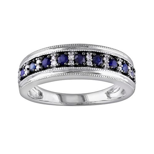 Stella Grace 10k White Gold Sapphire and 1/10-ct. T.W. Diamond Ring
