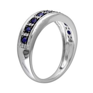 10k White Gold Sapphire and 1/10-ct. T.W. Diamond Ring