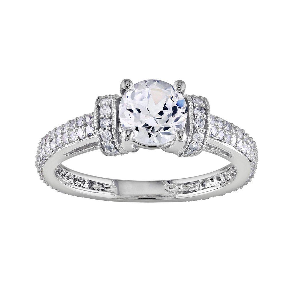 10k White Gold Lab-Created White Sapphire & 1/2-ct. T.W. Diamond Ring