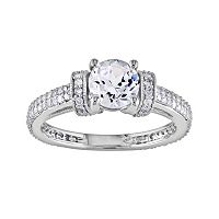10k White Gold Lab-Created White Sapphire & 1/2 ctT.W. Diamond Ring