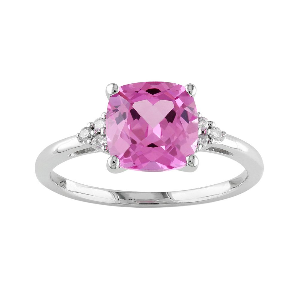 10k White Gold Lab-Created Pink Sapphire & Diamond Accent Ring