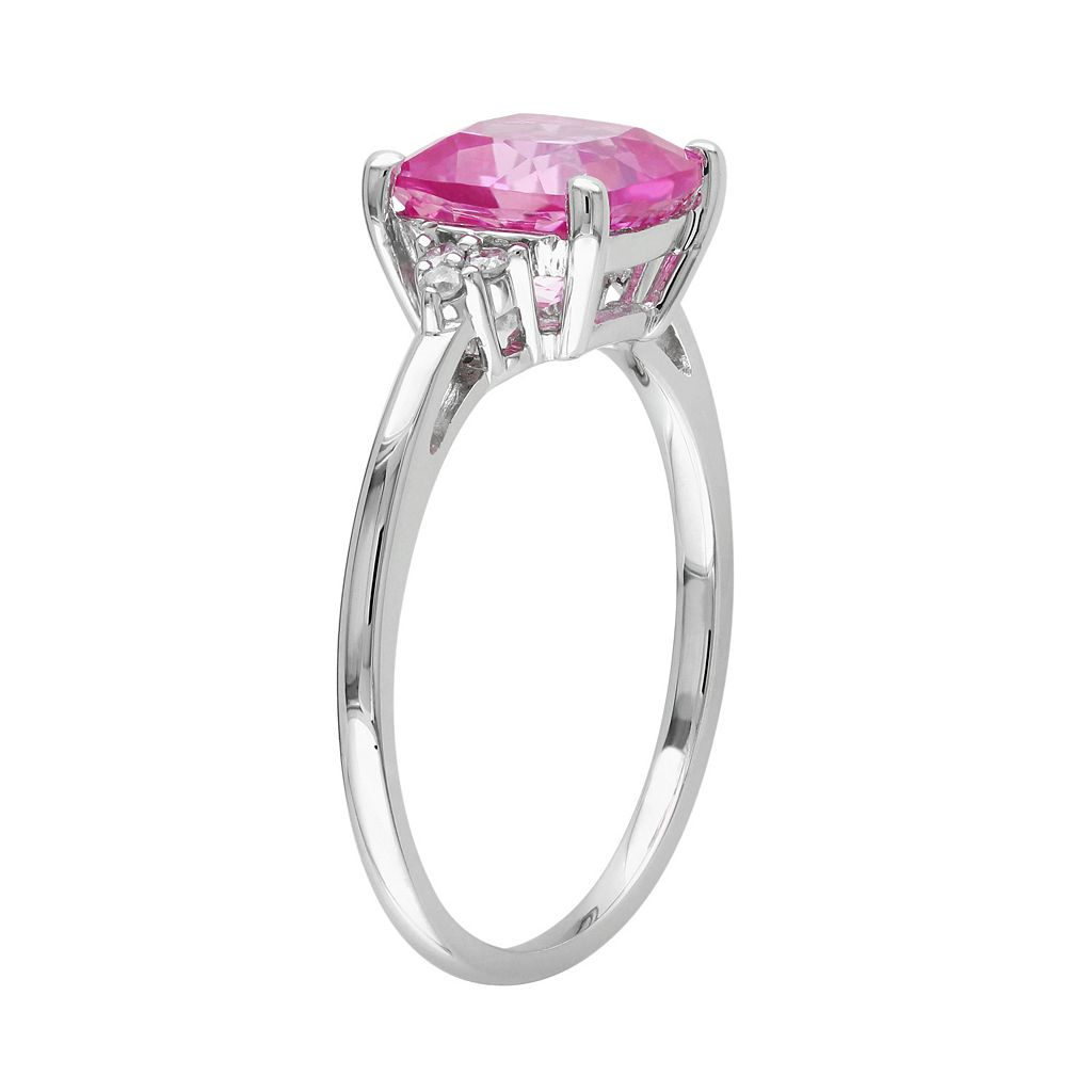 10k White Gold Lab-Created Pink Sapphire and Diamond Accent Ring
