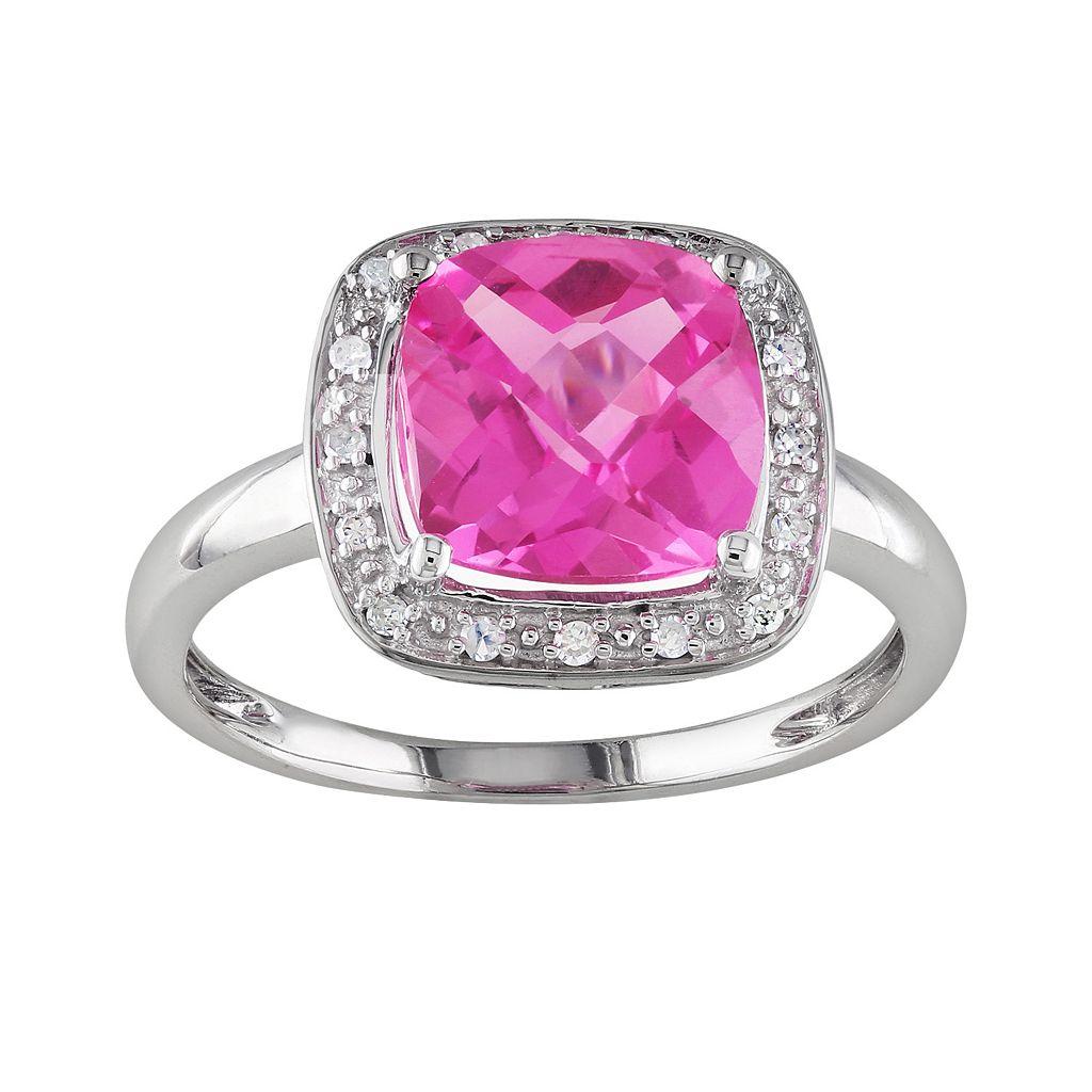 10k White Gold Lab-Created Pink Sapphire & 1/10-ct. T.W. Diamond Frame Ring