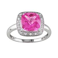 10k White Gold Lab-Created Pink Sapphire & 1/10 ctT.W. Diamond Frame Ring