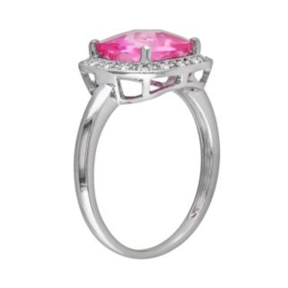 10k White Gold Lab-Created Pink Sapphire and 1/10-ct. T.W. Diamond Frame Ring