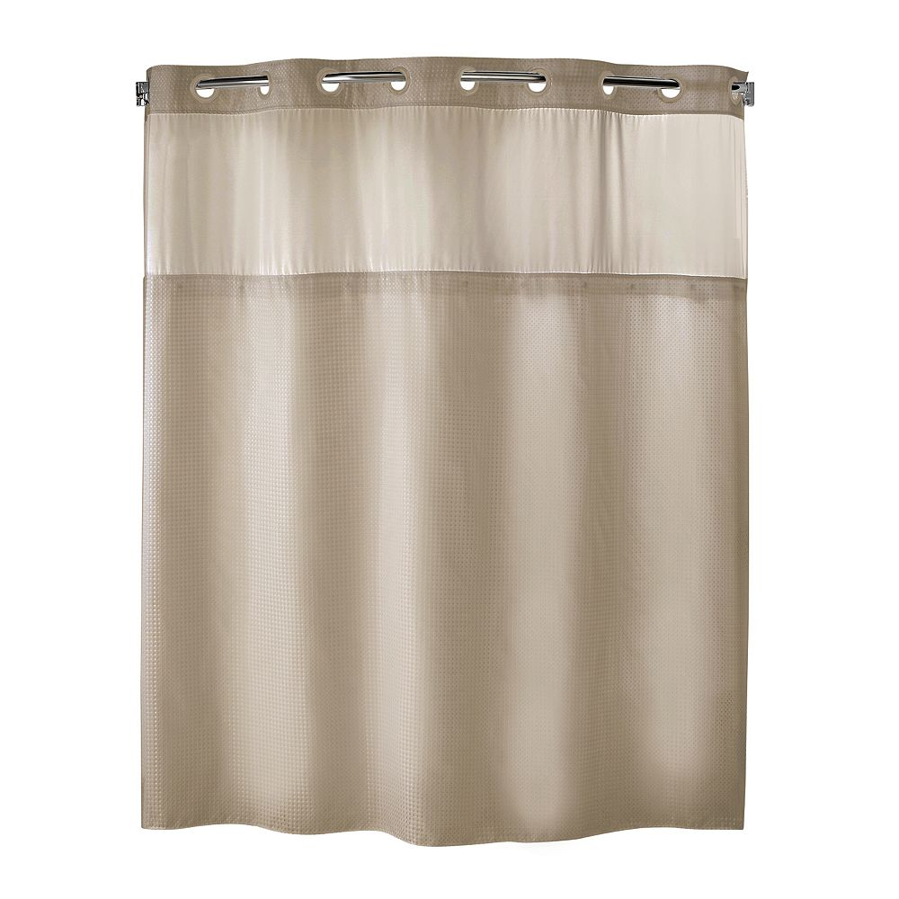 Hookless fabric shower curtain with built in liner taupe diamond pique - Hookless Fabric Shower Curtain With Built In Liner Taupe Diamond Pique 43