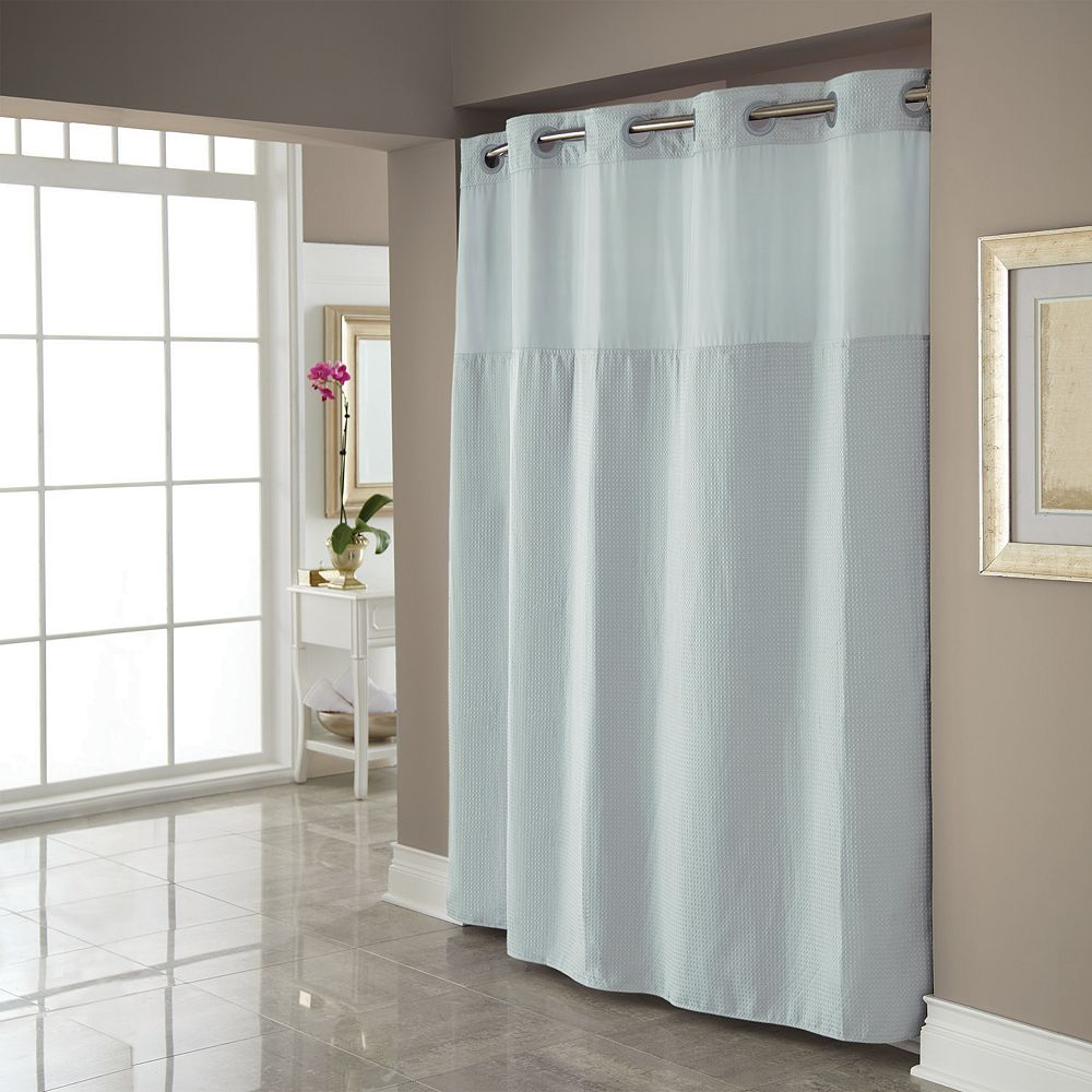Hookless fabric shower curtain with built in liner taupe diamond pique - Dobby Pique Mystery Hookless Fabric Shower Curtain