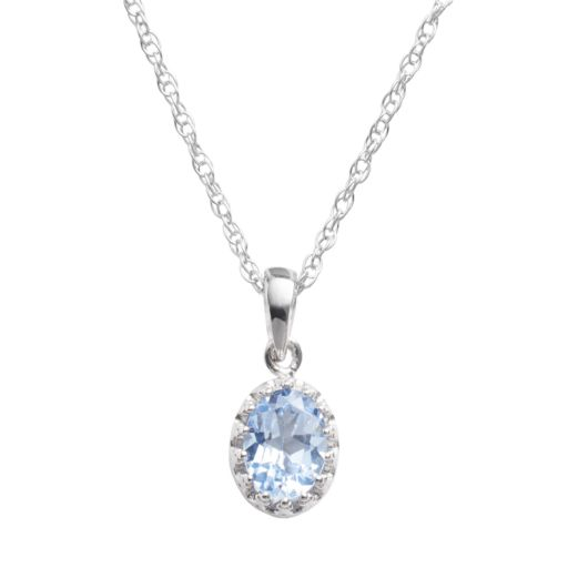 Tiara Sterling Silver Lab-Created Aquamarine Oval Pendant