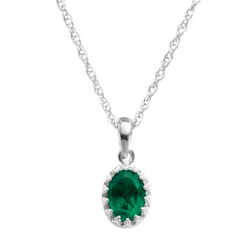 Tiara Sterling Silver Lab-Created Emerald Oval Pendant