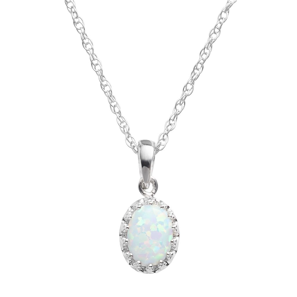 Tiara Sterling Silver Lab-Created Opal Oval Pendant