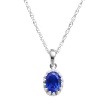 Tiara Sterling Silver Lab-Created Sapphire Oval Pendant