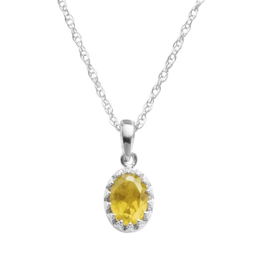 Tiara Sterling Silver Citrine Oval Pendant