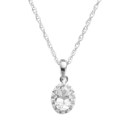 Tiara Sterling Silver Lab-Created White Sapphire Oval Pendant