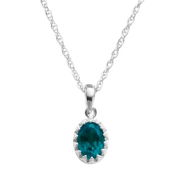 Tiara Sterling Silver London Blue Topaz Oval Pendant