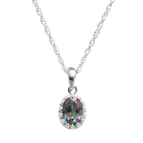 Tiara Sterling Silver Rainbow Quartz Oval Pendant