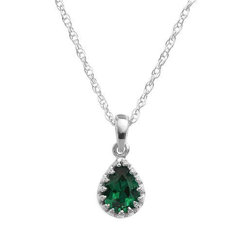 Tiara Sterling Silver Lab-Created Emerald Teardrop Pendant