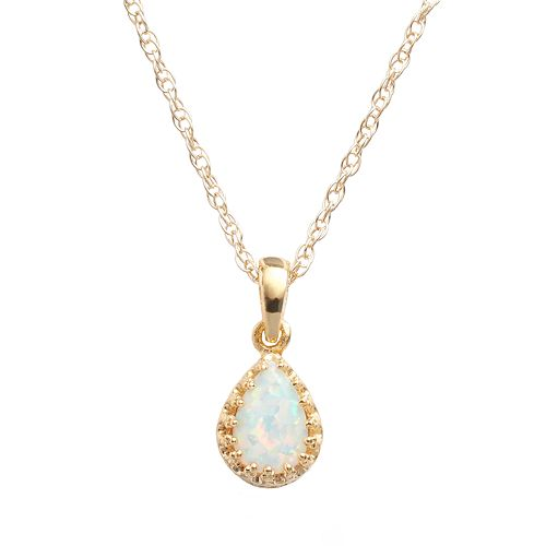 Tiara 14k Gold Over Silver Lab-Created Opal Teardrop Pendant