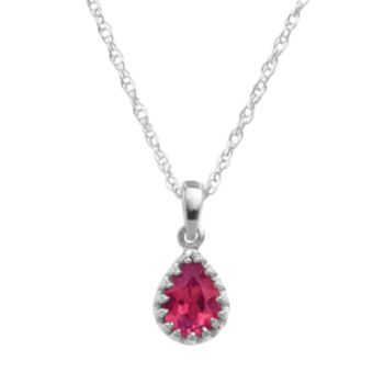 Tiara Sterling Silver Lab-Created Ruby Teardrop Pendant