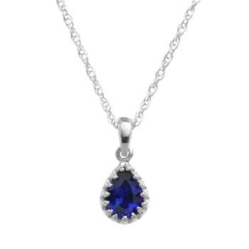 Tiara Sterling Silver Lab-Created Sapphire Teardrop Pendant